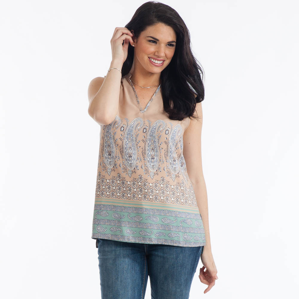 Mia and Tess Paisley-Print V-Neck Top