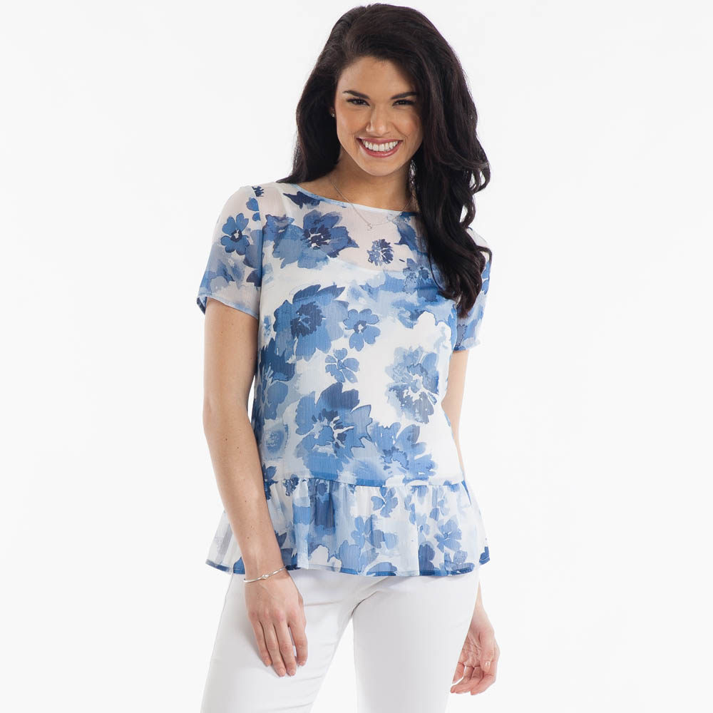Mia and Tess Watercolor Floral Top
