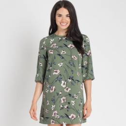 Rokoko A-Line Floral Printed Dress in Sage