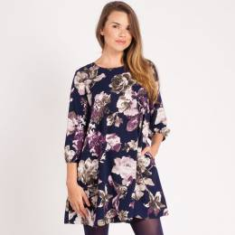 Mia + Tess Designs ™ A-Line Floral Printed Dress in Navy