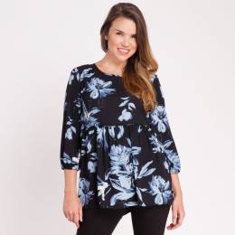 Mia + Tess Designs ™ Floral Top in Navy Blue