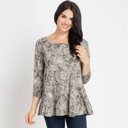 Mia + Tess Designs ™ Grey Floral A-Line Top