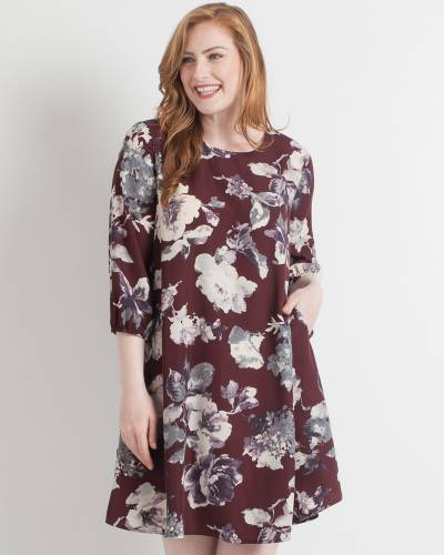 Exclusive Wine Floral Fit and Flare Dress