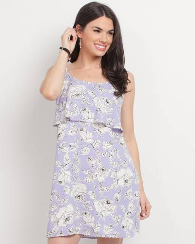 Exclusive Floral Ruffle Top Dress in Lavender