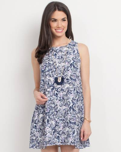 Exclusive Sleeveless Abstract Print Dress in White and Navy