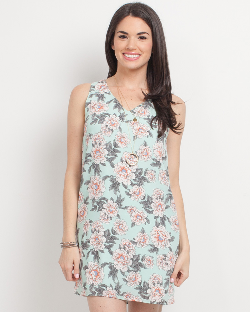 184cdd07f8 Mia + Tess Designs ™ Exclusive Floral Print Tank Dress in Mint | The Paper  Store