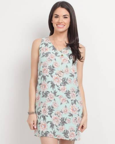 Exclusive Floral Print Tank Dress in Mint