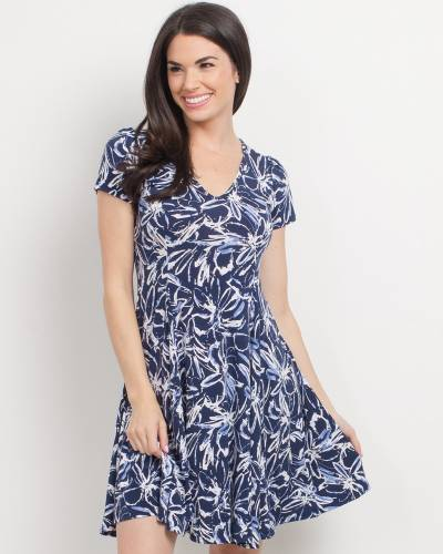 7684d5e076d Exclusive Floral Fit and Flare Dress in Navy and White
