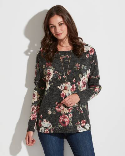Exclusive Grey and Mauve Floral Top