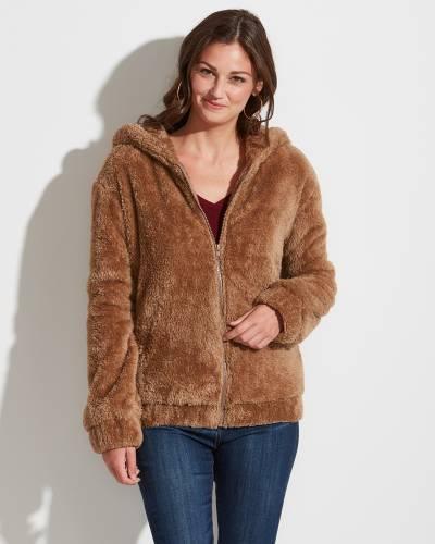 Exclusive Fuzzy Zip-Up Jacket in Mocha