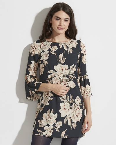 Exclusive Floral Print Dress in Grey and Blush