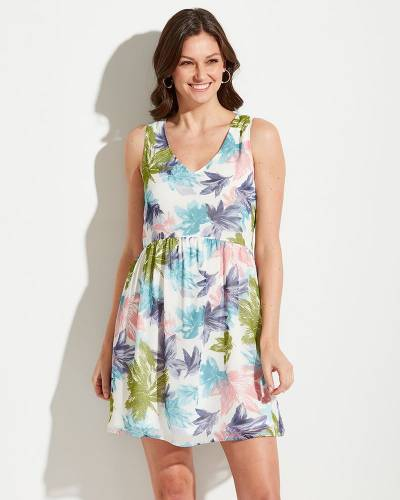 Exclusive Multicolor Leaf Print A-Line Dress