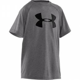Under Armour Boy's UA Tech Big Logo Short Sleeve Tee in Carbon Heather