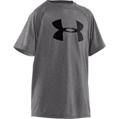 Boy's UA Tech Big Logo Short Sleeve Tee in Carbon Heather