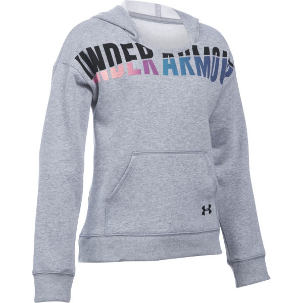 Under Armour Girl's UA Favorite Fleece Hoodie in Heather Grey