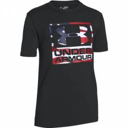 Under Armour Boy's UA Tech Big Flag Logo Short Sleeve Tee in Black
