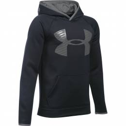 Under Armour Boy's UA Storm Armour Fleece Highlight Big Logo Hoodie in Black