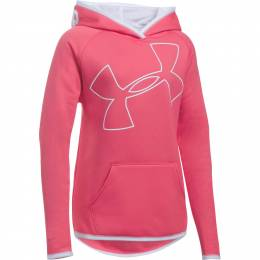 Under Armour Girl's UA Armour Fleece Jumbo Logo Hoodie in Pink
