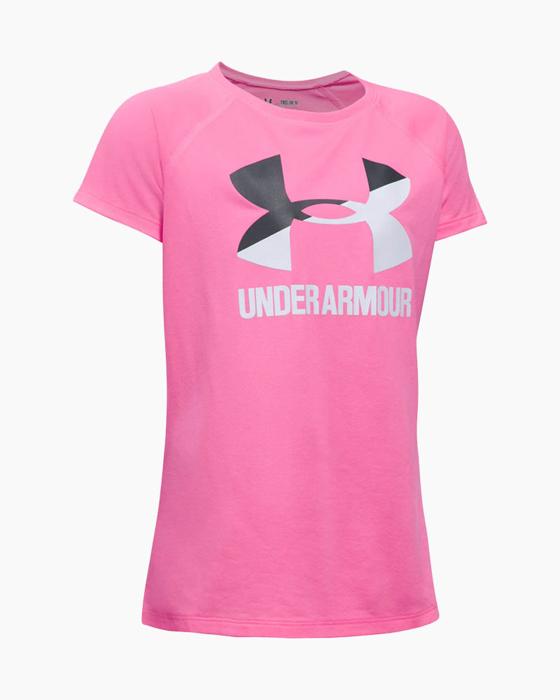 Under Armour Girl's UA Solid Big Logo Short Sleeve Tee in Pink