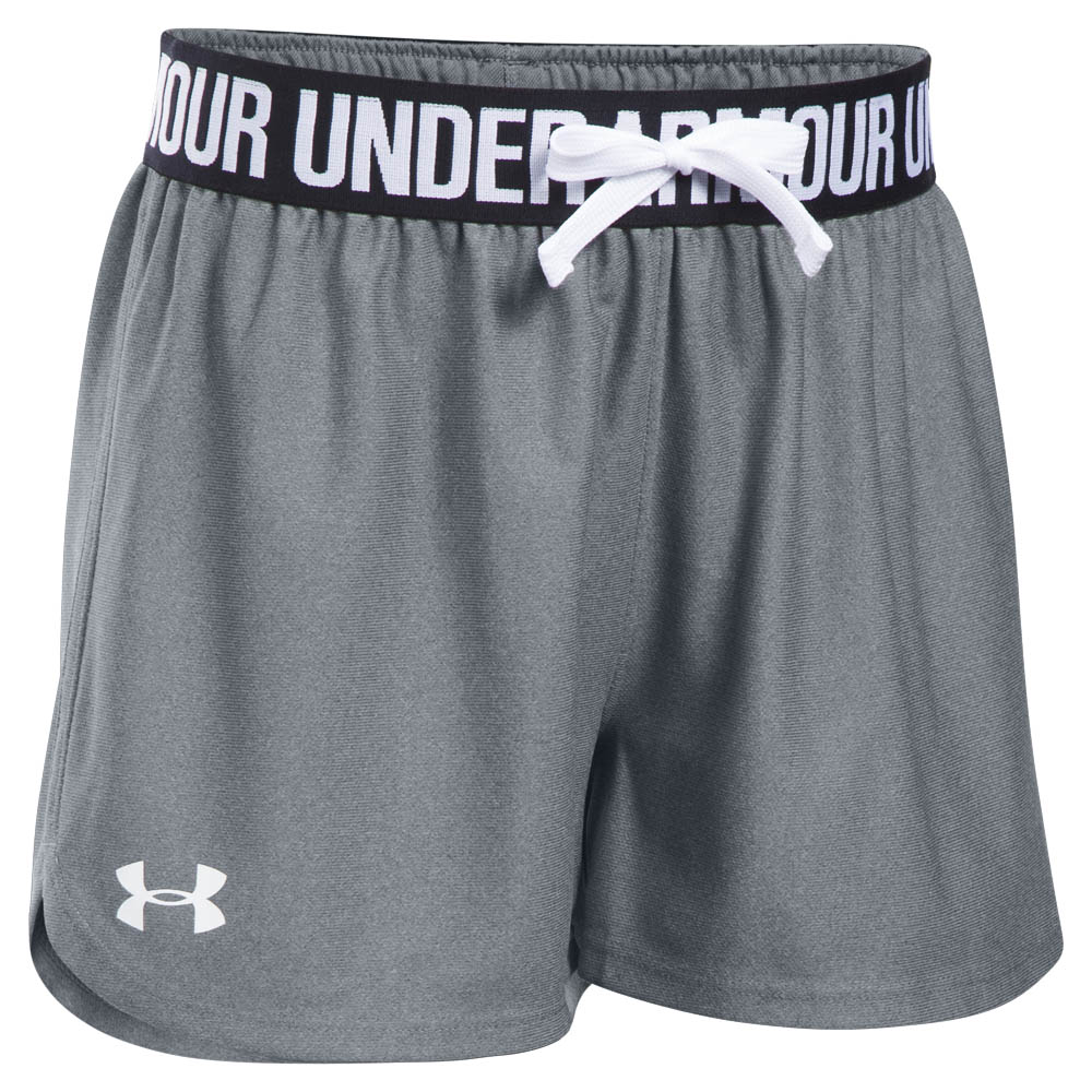 Under Armour Girl's UA Play Up Running Shorts in Steel