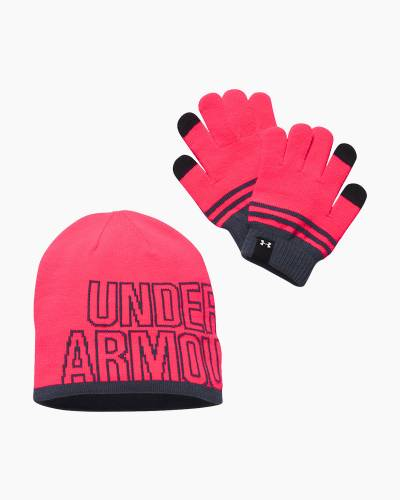 Girl's UA Beanie and Glove Combo in Penta Pink