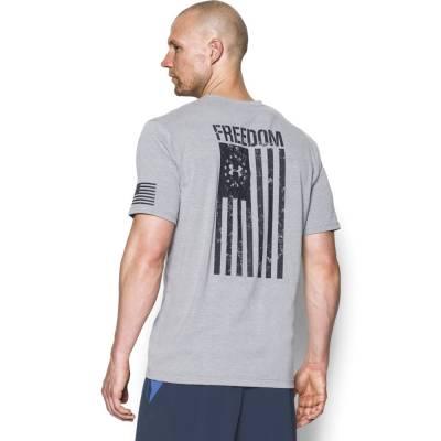 Men's UA Freedom Flag Tee in True Grey Heather