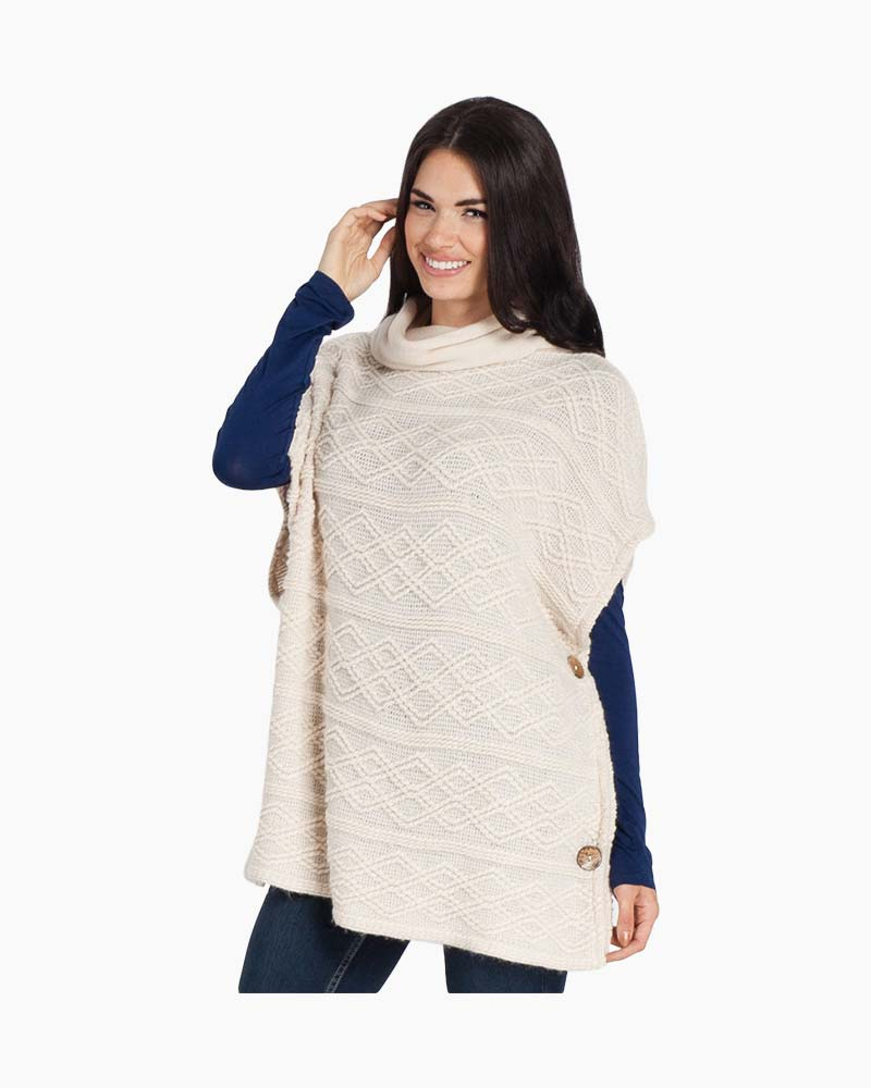 Laon Fashion Cowl Neck Side Button Poncho