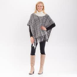 Laon Fashion Plaid Tassel Cowl Neck Poncho