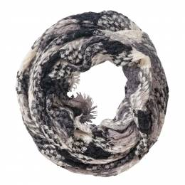 Laon Fashion Woven Plaid Infinity Scarf in Black