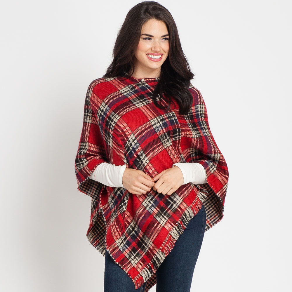 Laon Fashion Reversible Plaid Poncho in Red