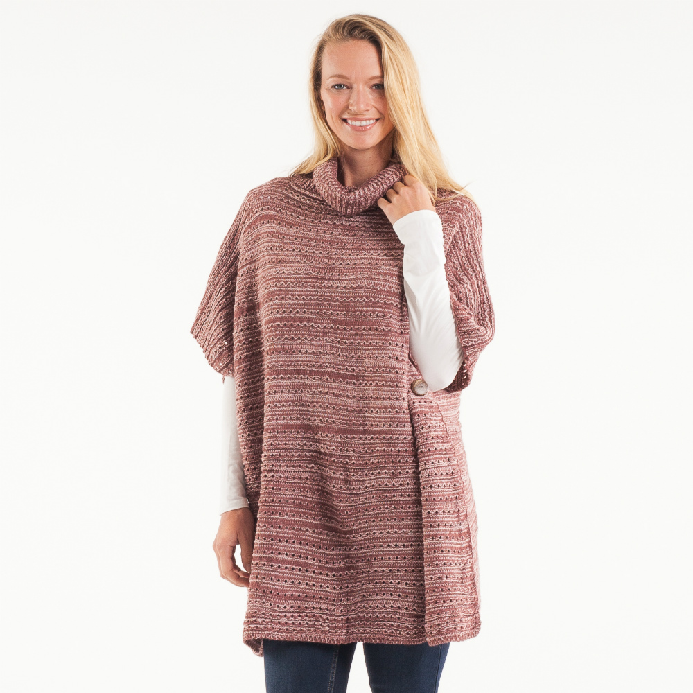 Laon Fashion Heather Turtleneck Poncho