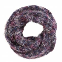 Laon Fashion Lurex Infinity Scarf in Navy Blue