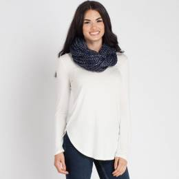 Laon Fashion Metallic Knit Infinity Scarf in Navy Blue
