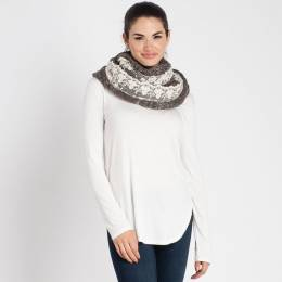 Laon Fashion Lace Trim Knit Infinity Scarf in Grey