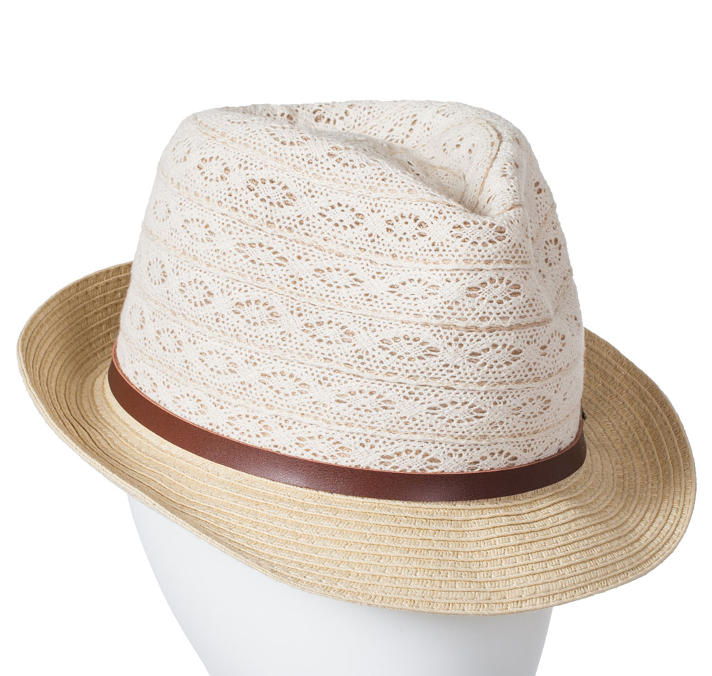 Laon Fashion Canvas Crochet Lace-Top Fedora