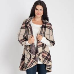 Laon Fashion Plaid Cape in Ivory