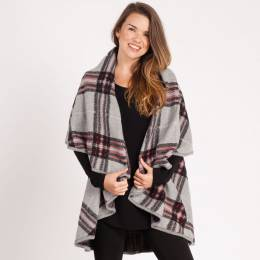 Laon Fashion Plaid Cape in Grey