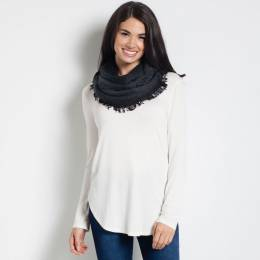Laon Fashion Soft Infinity Scarf in Black