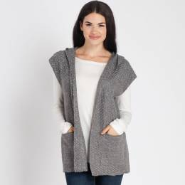 Laon Fashion Heather Knit Hooded Vest in Grey