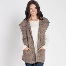 Laon Fashion Heather Knit Hooded Vest in Taupe