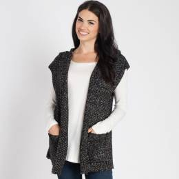 Laon Fashion Heather Knit Hooded Vest in Black