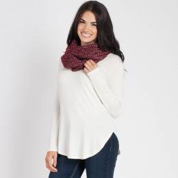 Laon Fashion Metallic Knit Infinity Scarf in Burgundy