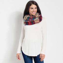 Laon Fashion Multicolored Plaid Scarf in Beige