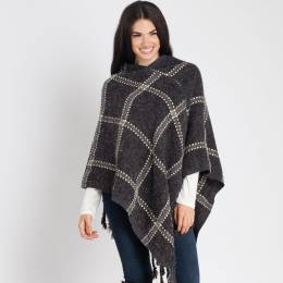 Laon Fashion Plaid Fringe Poncho in Black