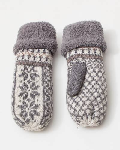 Holiday Print Mittens in Grey