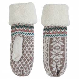 Laon Fashion Holiday Print Mittens in Ivory