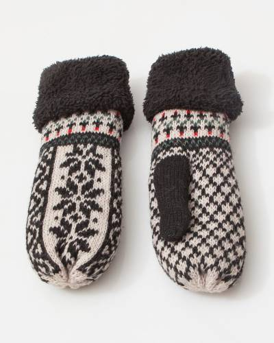 Holiday Print Mittens in Black