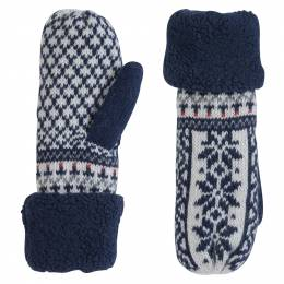 Laon Fashion Holiday Print Mittens in Navy Blue