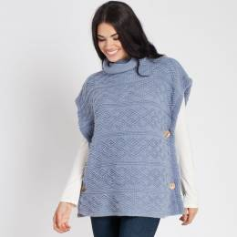 Laon Fashion Cowl Neck Poncho in Blue