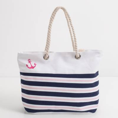 Pink Anchor Striped Tote
